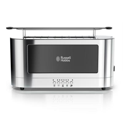 Glass Accent 2-Slice Black Stainless Steel Long Slot Toaster