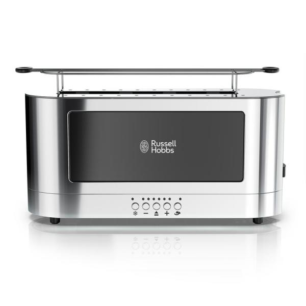 Russell Hobbs Glass Accent 2-Slice Black Stainless Steel Long Slot Toaster