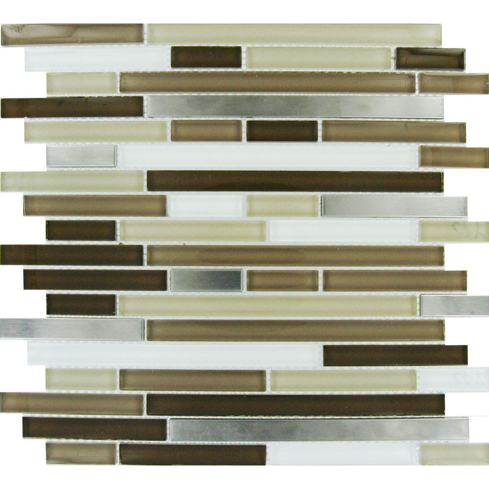Msi Escorial Blend Interlocking 12 In X 8 Mm Gl And Metal Mesh Mounted Mosaic Tile Glmt Ebi 8mm The Home Depot