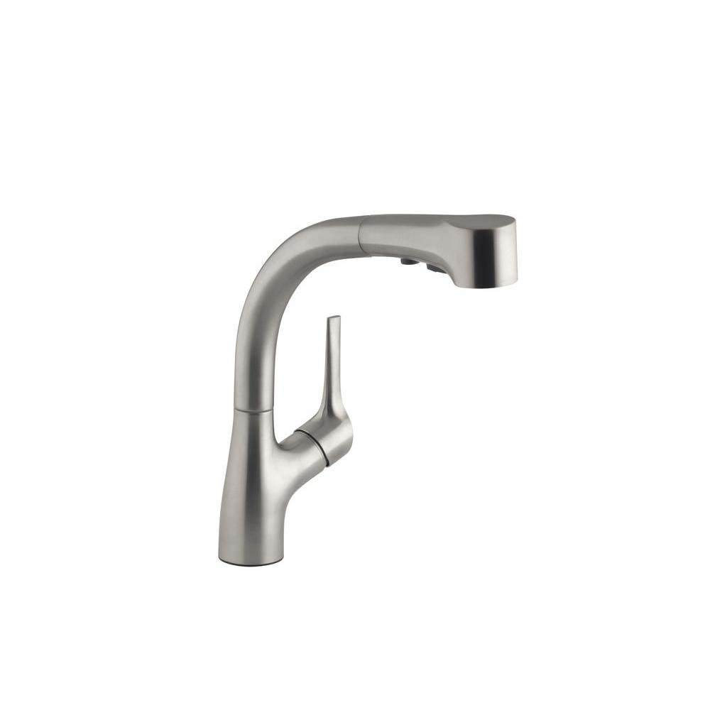 Kohler Elate Single Handle Pull Out Sprayer Kitchen Faucet In Vibrant Stainless