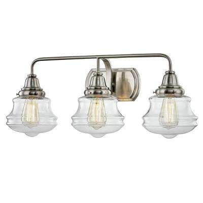 Shipley 8 in. 3-Light Brushed Nickel Vanity Sconce Light with Clear Glass Shades