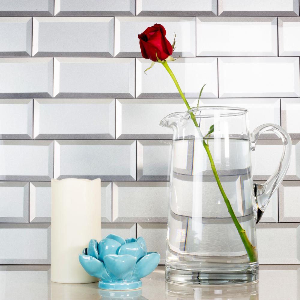 "Subway 3"" x 6"" Handmade Metallic Silver Beveled Glossy Glass Peel & Stick Decorative Bathroom Wall Tile Backsplash (8Pk)"