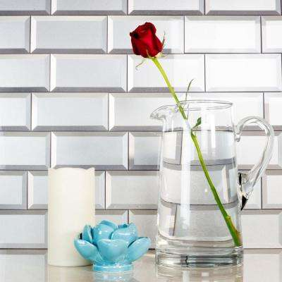 Secret Dimensions 3 in. x 6 in. Silver Glass Beveled 3D Peel and Stick Decorative Wall Tile Backsplash (8-Pack)
