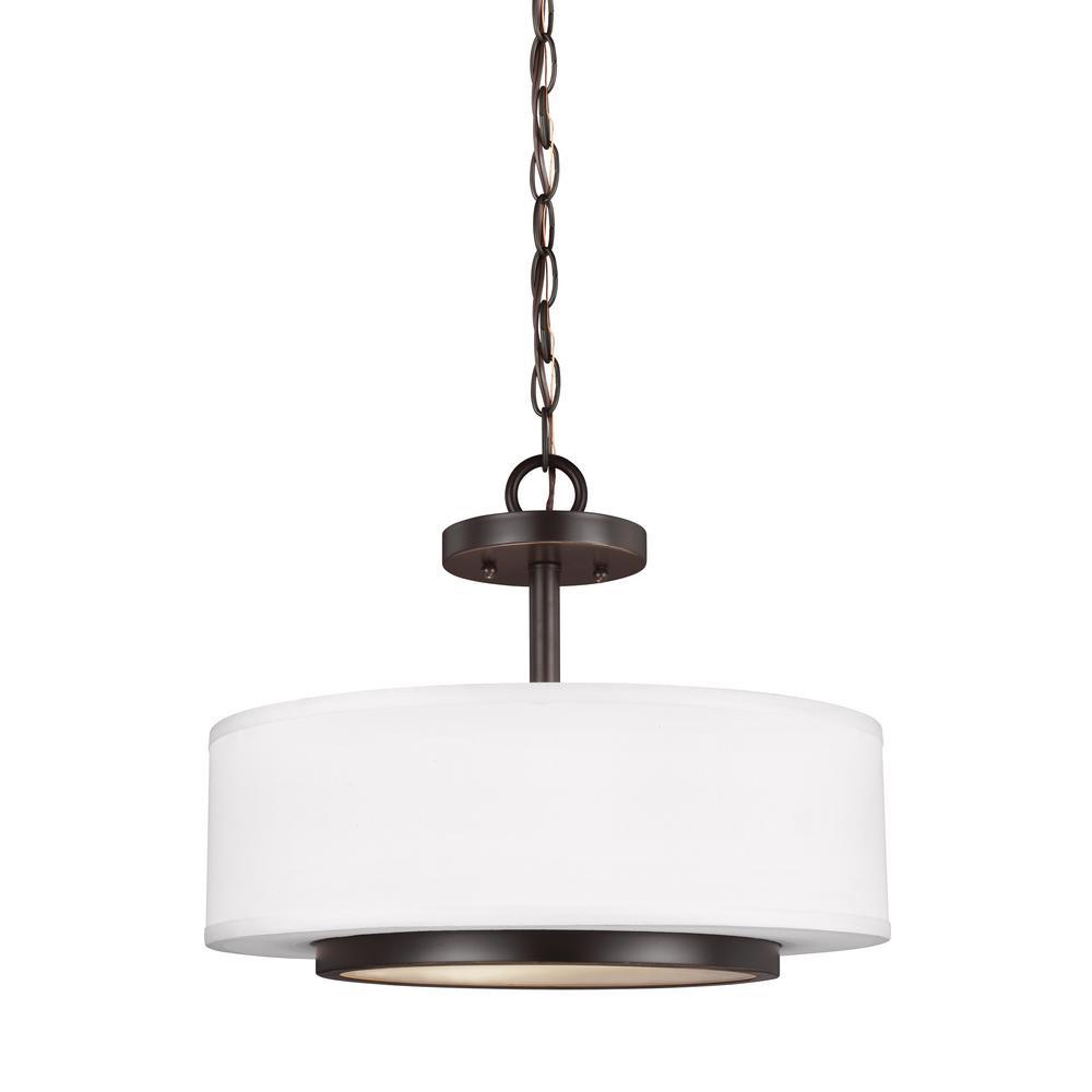Nance 2-Light Heirloom Bronze Semi-Flushmount Convertible Pendant with LED Bulbs