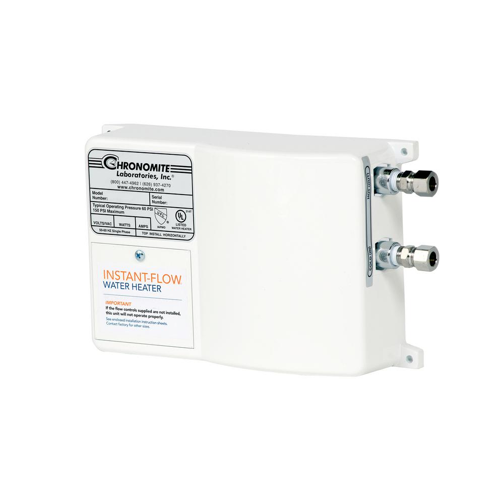 Chronomite Instant-Flow Micro-Low Flow 0.50 GPM Point of Use Electric Tankless Water Heater, 30 Amp, 208-Volt, 6240-Watt, 104F