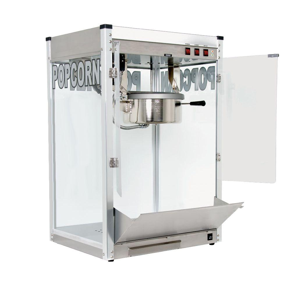 Paragon Professional 12 oz. Popcorn Machine, Stainless If you are looking for the highest quality popcorn machine in the market, you will find it in the Professional Series. The Professional Series 12 oz. popcorn machine operates on a 20 Amp 120-Volt circuit. This machine is ideal to use in schools or any environment that needs lots of popcorn. This popper will produce 221 oz. servings per hour. This full-feature popcorn machine uses a gas spring assisted kettle for easy unloading, four-switch operation, kettle  ready  lights and a Hard-coat anodized aluminum kettle for superior performance and ease of cleaning. The heated warming deck will keep popcorn warm and fresh for long periods of time. Paragon's American-made Professional Series popcorn machines are unparalleled in quality and workmanship and are comparable to commercial popcorn machines you find at the movie theaters. One-Year Manufacturer's Warranty. 12 oz. - Pops 221 one ounce servings per hour. A high-volume machine ideal for larger venues including: convention centers, arenas and amusement parks. Color: Stainless.