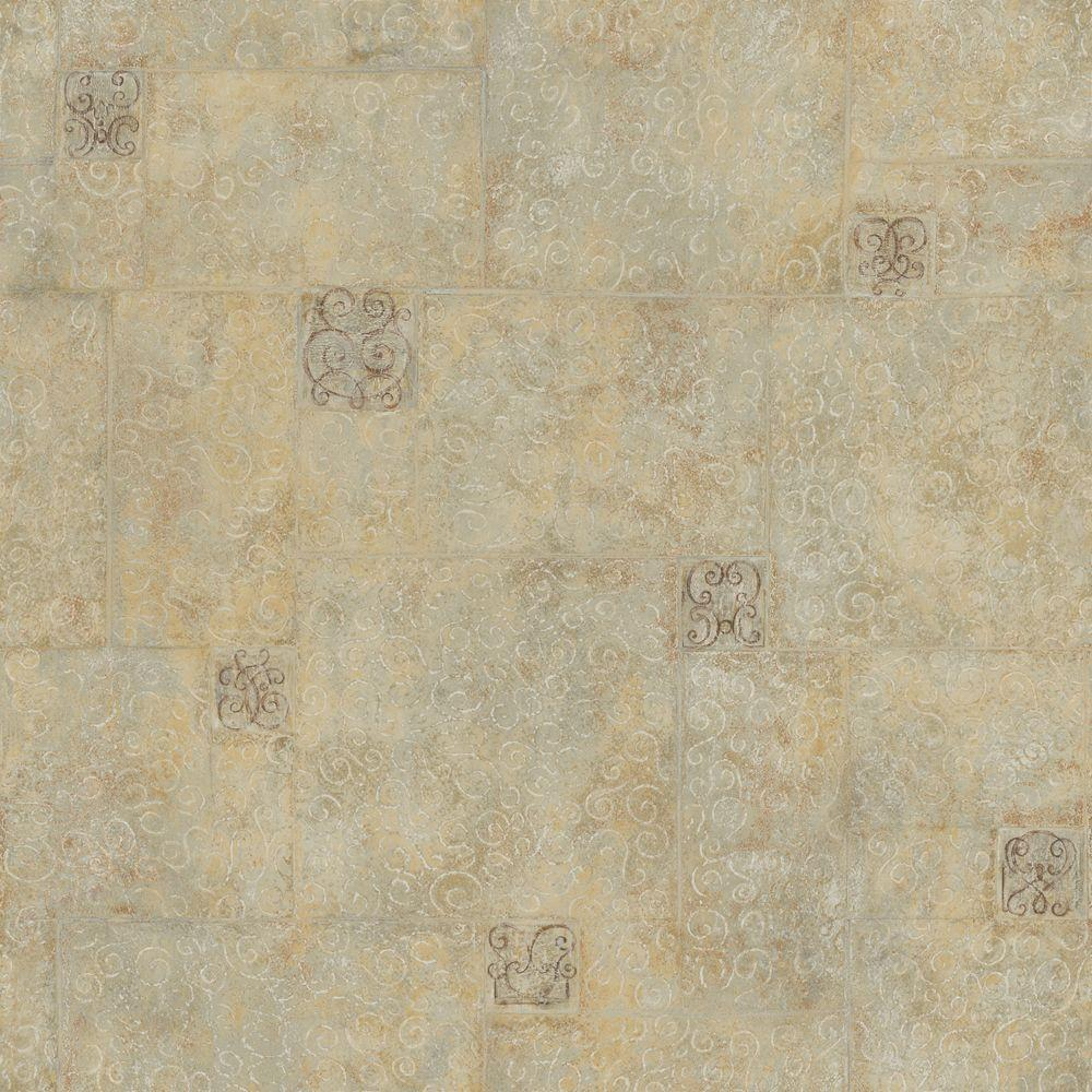 The Wallpaper Company 56 sq. ft. Beige Filigree Scroll Tile Wallpaper