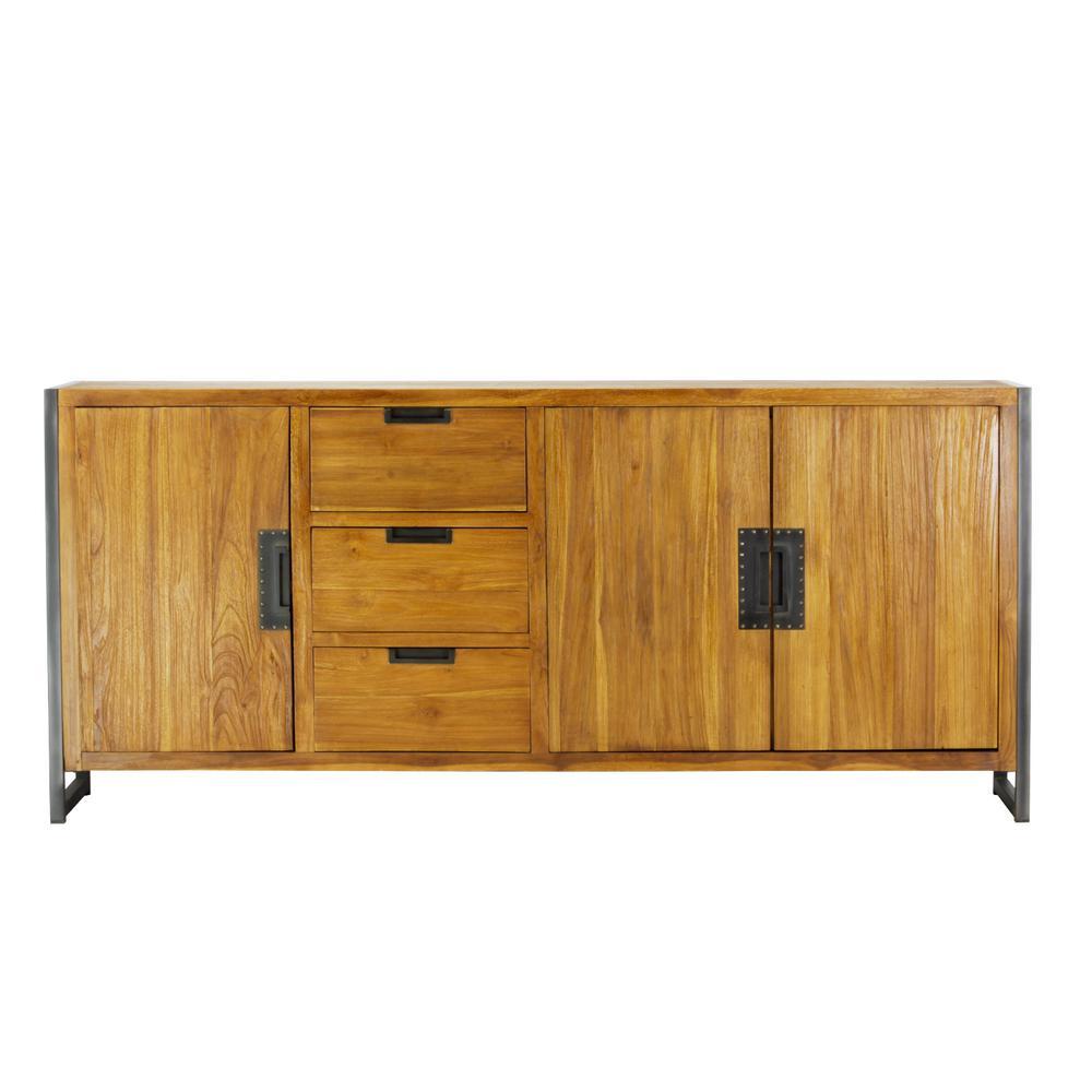Metal Solid Teak Wood Sideboard Drawers Doors Brown