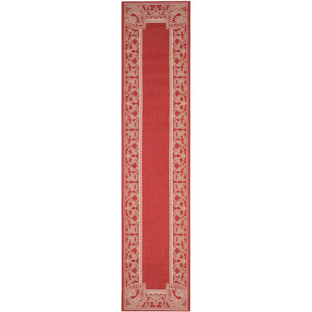 Safavieh Courtyard Red/Natural 2 ft. 3 in. x 10 ft. Indoor/Outdoor Runner