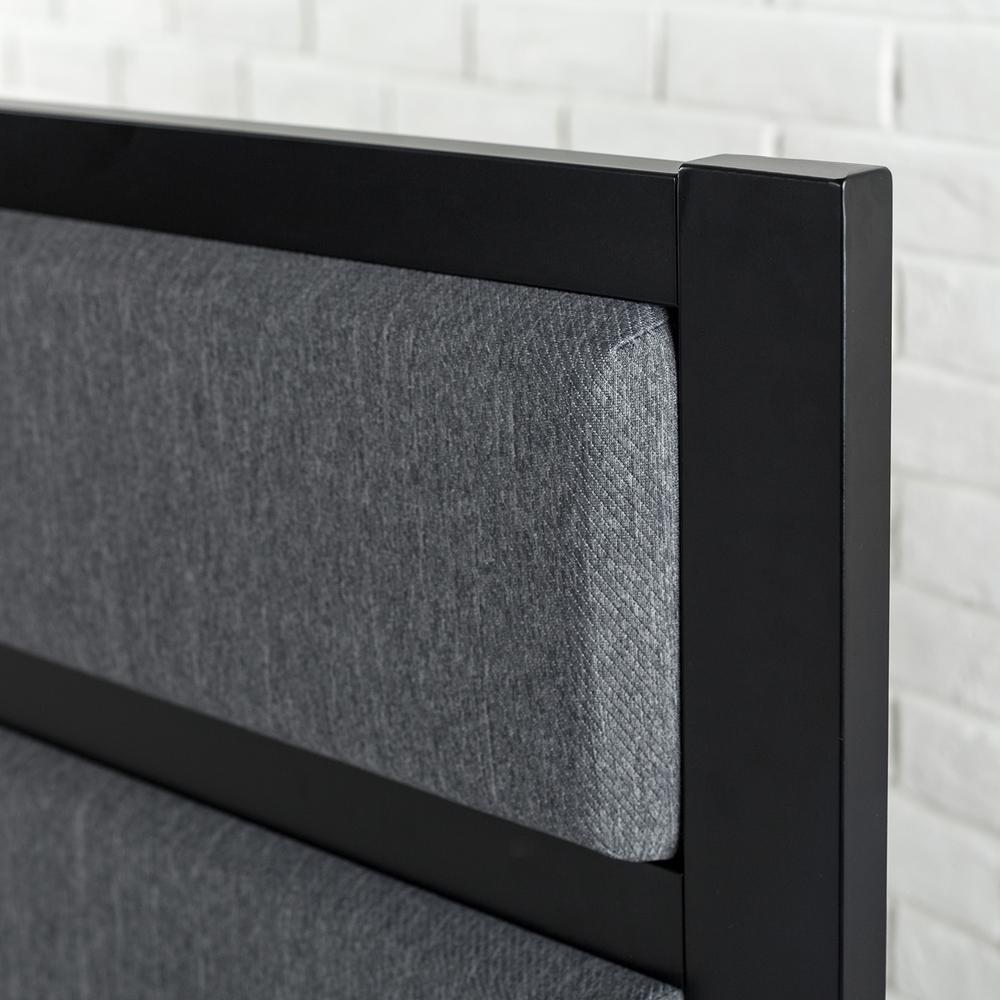 Metal Headboard Modern Studio Black Upholstered Bedroom Furniture Twin XL Size