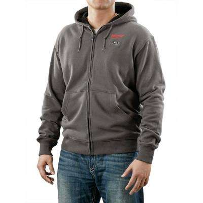 Large Gray M12 Lithium-Ion Cordless Heated Hoodie (Hoodie Only)