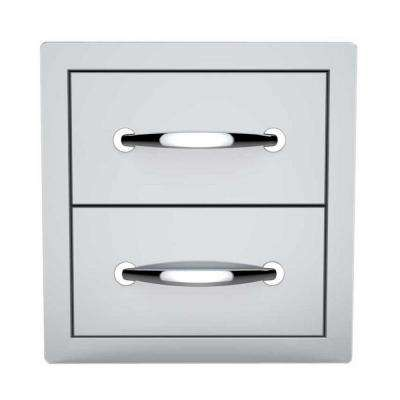 Classic Series 14 in. 304 Stainless Steel Flush Double Access Drawer
