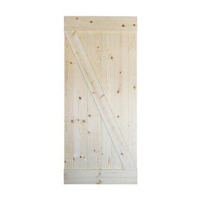 36in.X84in.Z SERIES  Unfinished Sliding Knotty Pine Wood Interior Barn Door Slab