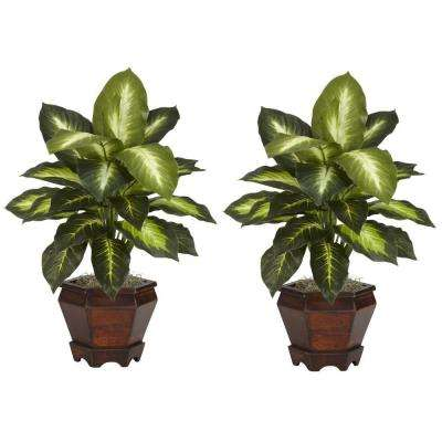 20.5 in. H Green Dieffenbachia with Wood Vase Silk Plant (Set of 2)