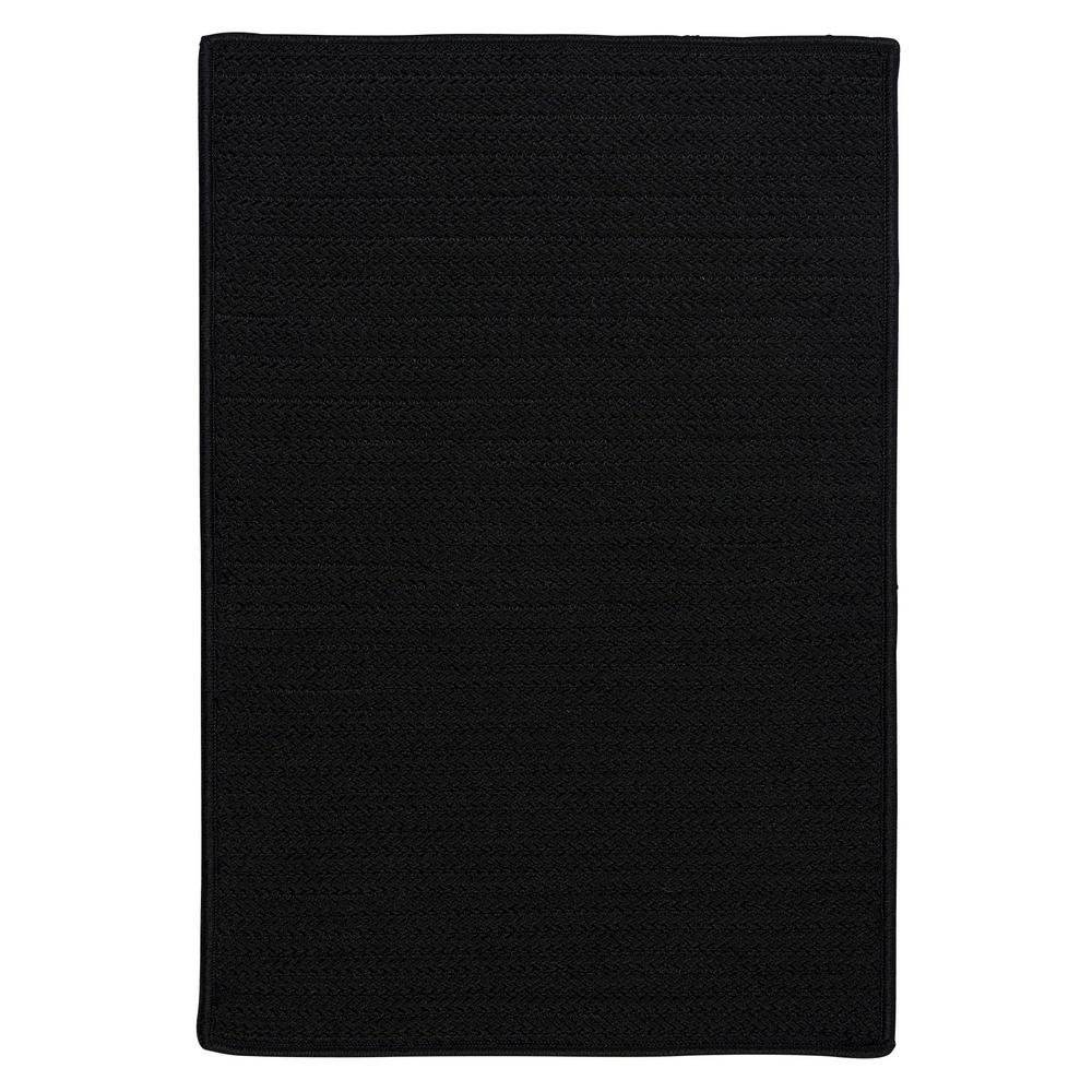 Home Decorators Collection Solid Black 2 Ft X 6 Indoor Outdoor Braided