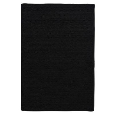 Solid Black 6 ft. x 6 ft. Braided Indoor/Outdoor Area Rug