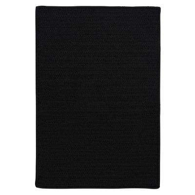 Solid Black 6 ft. x 6 ft. Indoor/Outdoor Braided Area Rug