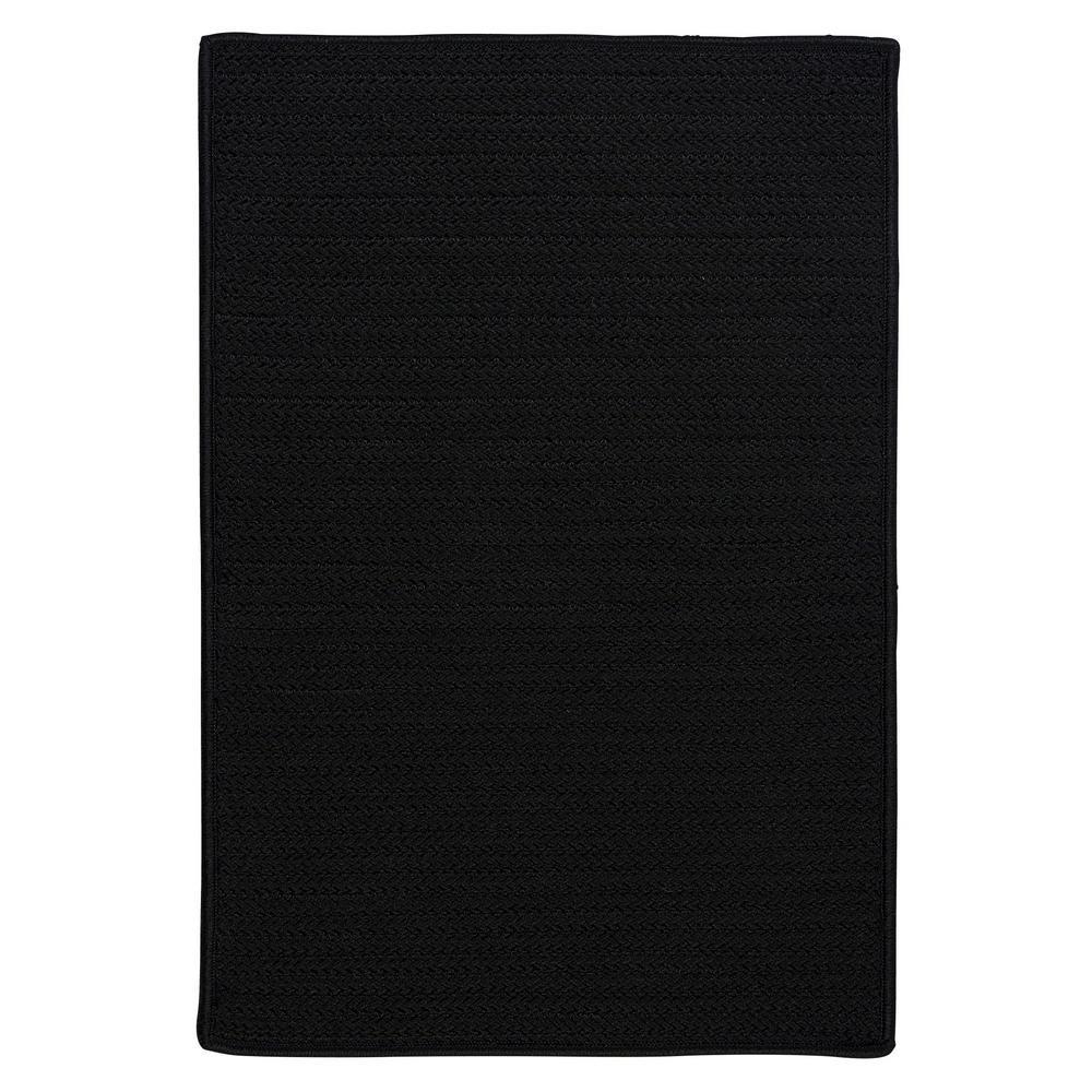 Solid Black 10 ft. x 10 ft. Indoor/Outdoor Braided Area Rug