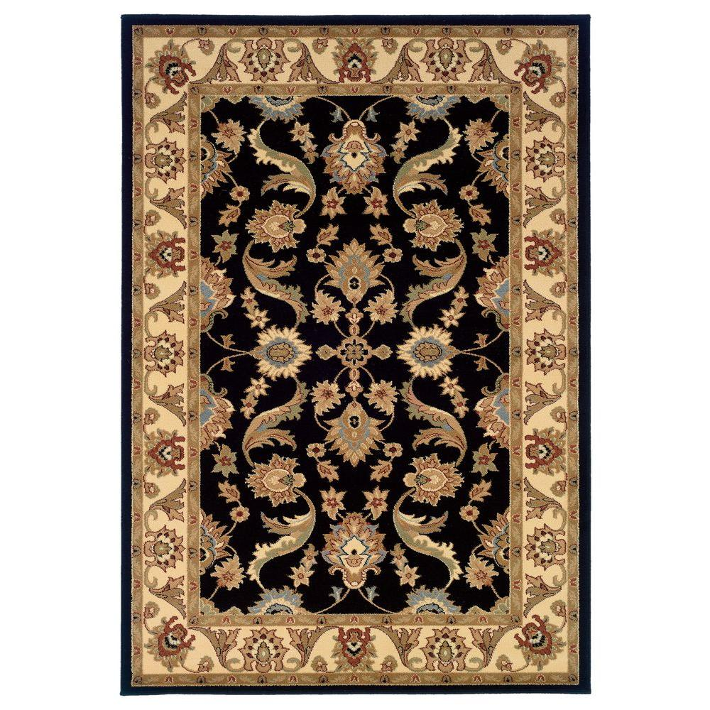 LR Resources Traditional Design with Black/Cream Swirls 7 ft. 9 in. x 9 ft. 9 in. Plush Indoor Area Rug