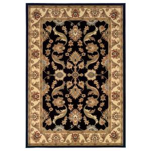 LR Resources Traditional Design with Black/Cream Swirls 7 ft. 9 inch x 9 ft. 9 inch Plush... by LR Resources