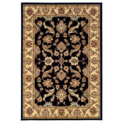 Traditional Design with Black/Cream Swirls 8 ft. x 10 ft. Plush Indoor Area Rug