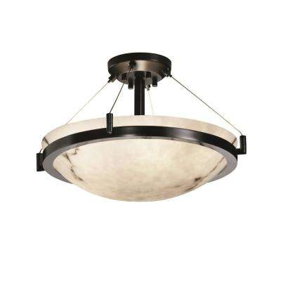LumenAria Ring 21 in. 3-Light Matte Black Semi-Flush Mount with Faux Alabaster Shade