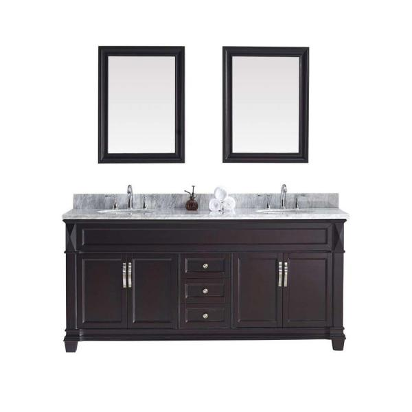 Victoria 72 in. W Bath Vanity in Espresso with Marble Vanity Top in White with Round Basin and Mirror