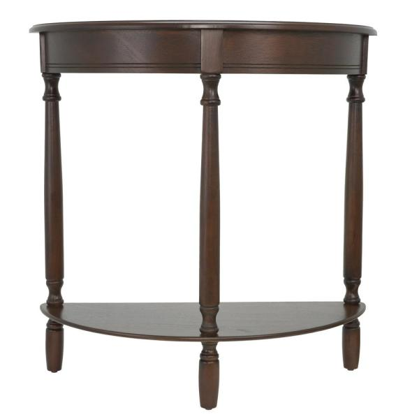 Simplicity 29 in. Walnut Half-Round Wood Console Table with Storage