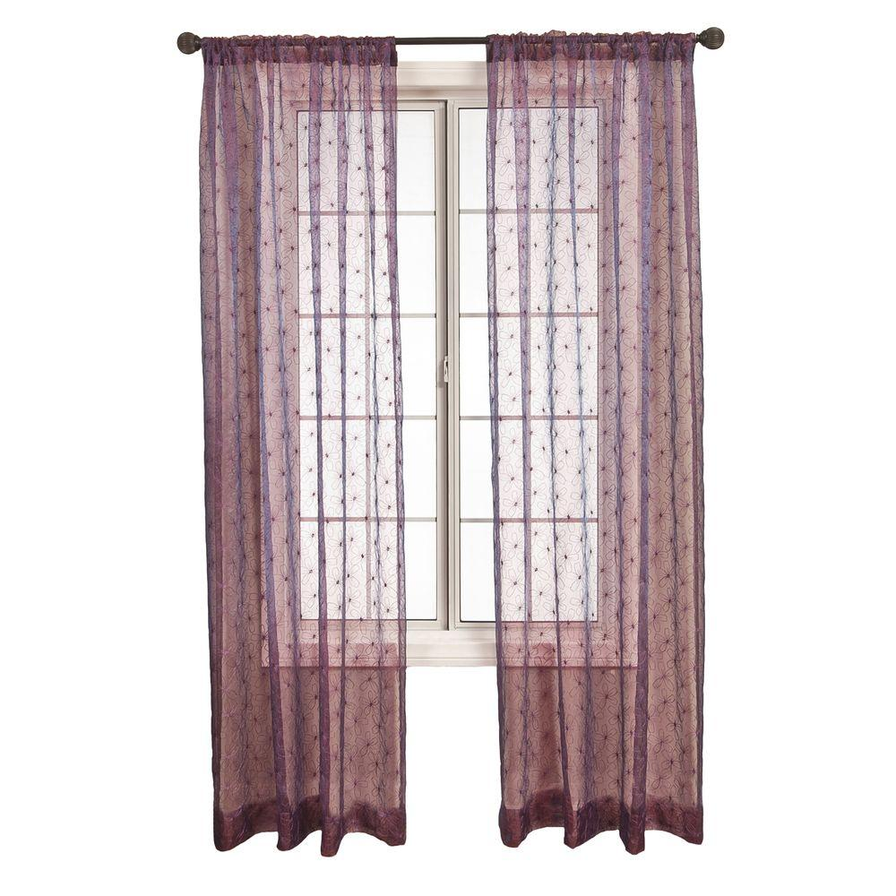 Home Decorators Collection Sheer Purple Fantasia Rod Pocket Curtain - 55 in. W x 96 in. L