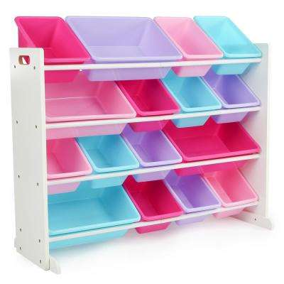 Forever White/Pastel Super-Sized Toy Organizer with 16-Plastic Bins