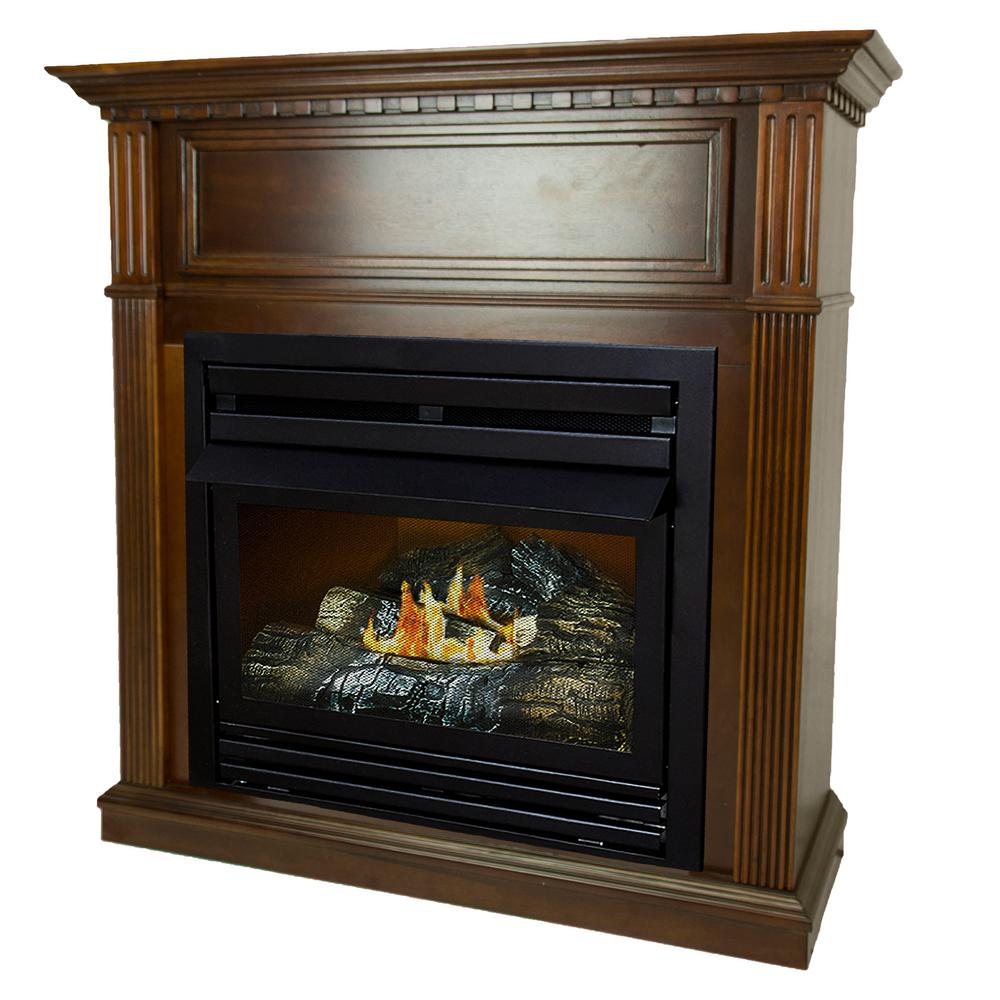 500 BTU 42 in. Convertible Ventless Natural Gas Fireplace in Cherry-VFF-PH26NG - The Home Depot