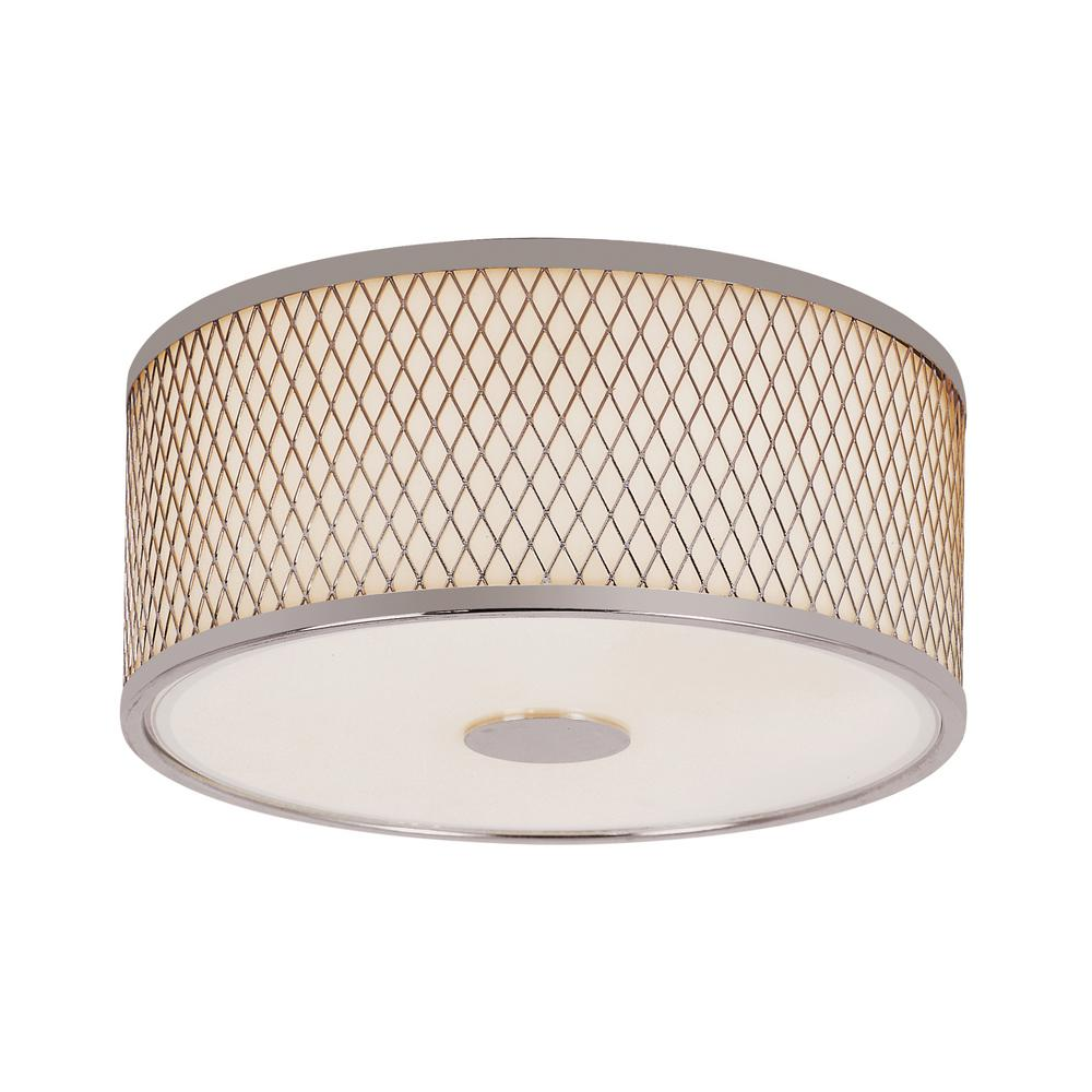 Bel Air Lighting Cardiff Polished Chrome 2 Light Flush Mount With White Acrylic Drum Shade