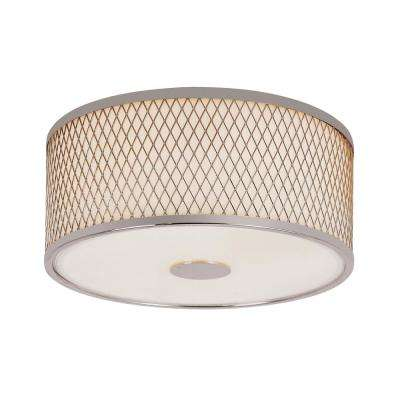 Cardiff Polished Chrome 2-Light Flush Mount with White Acrylic Drum Shade