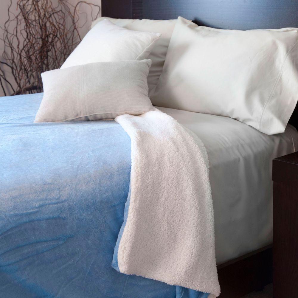 Blue Fleece/Sherpa Polyester Full/Queen Blanket