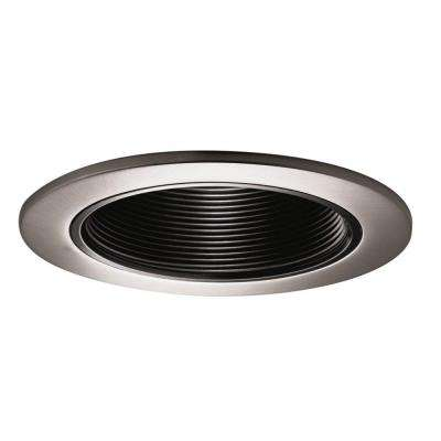 993 Series 4 in. Satin Nickel Recessed Trim with Black Coilex Baffle