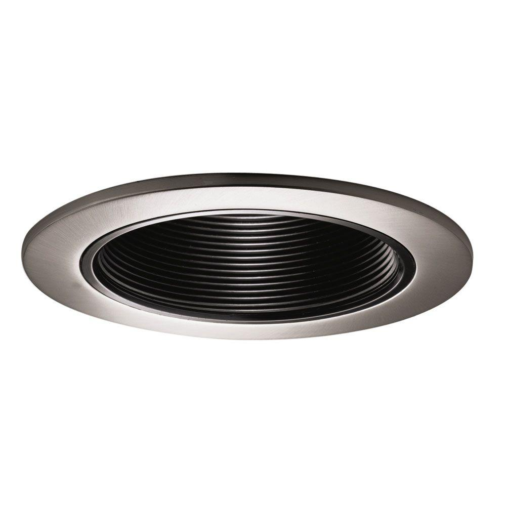Halo 993 Series 4 in. Satin Nickel Recessed Trim with Black Coilex Baffle