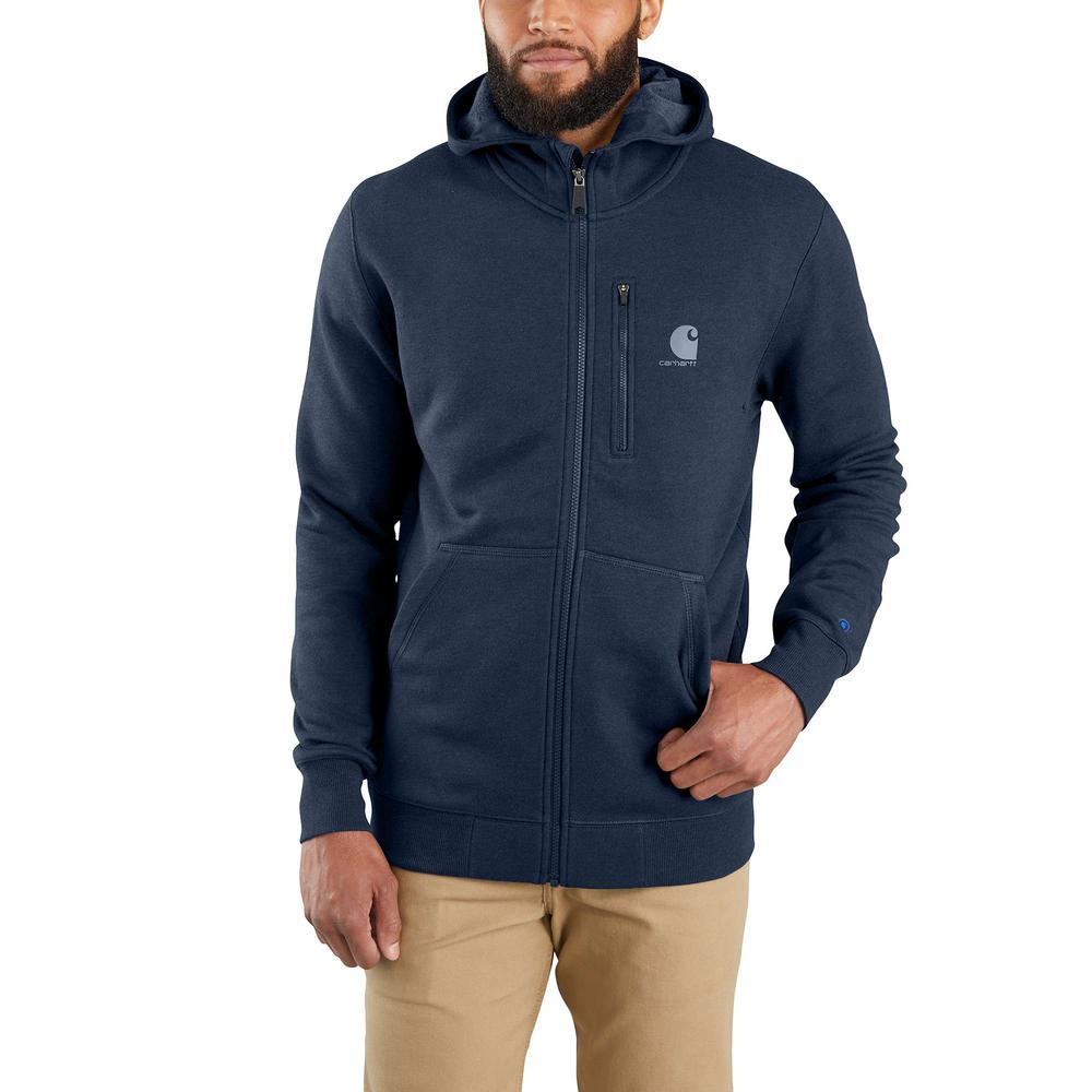 Men's Medium Navy Heather Cotton/Polyester Force Delmont Graphic Full Zip Hooded Sweatshirt
