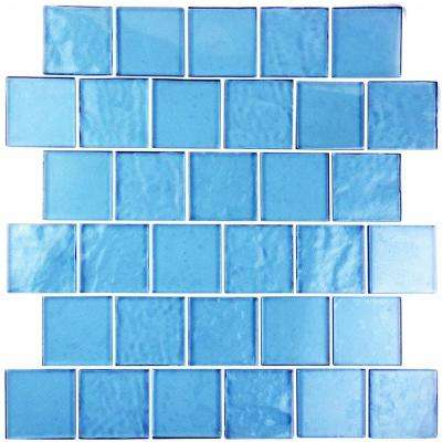 Blue Mosaic 2 in. x 2 in. Textured Glass Mesh Mounted Decorative Bathroom Wall and Floor Tile (1.04 Sq. ft.)