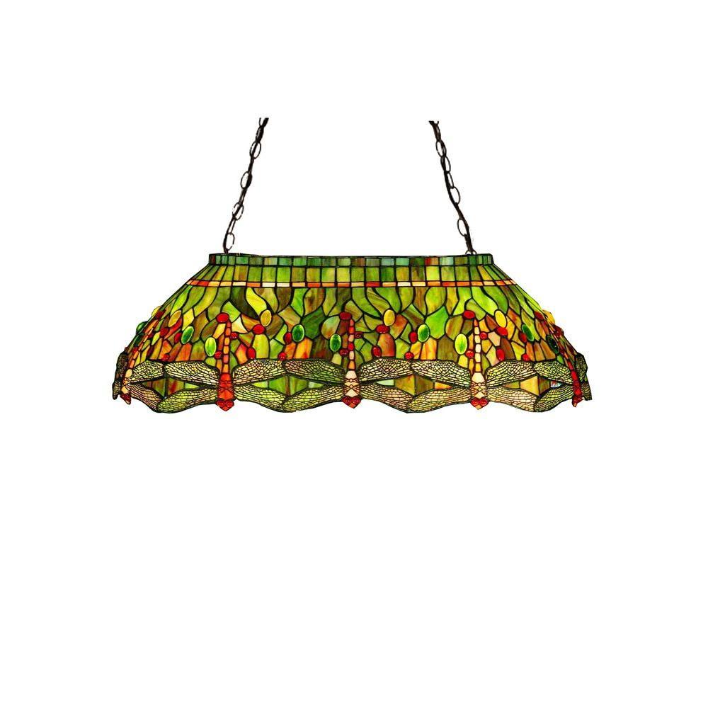 Illumine 6 Light Tiffany Hanginghead Dragonfly Oblong Pendant