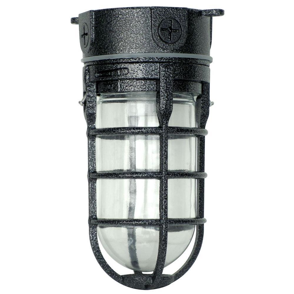Industrial 1-Light Hammered Black Outdoor Weather Tight Flushmount Light Fixture