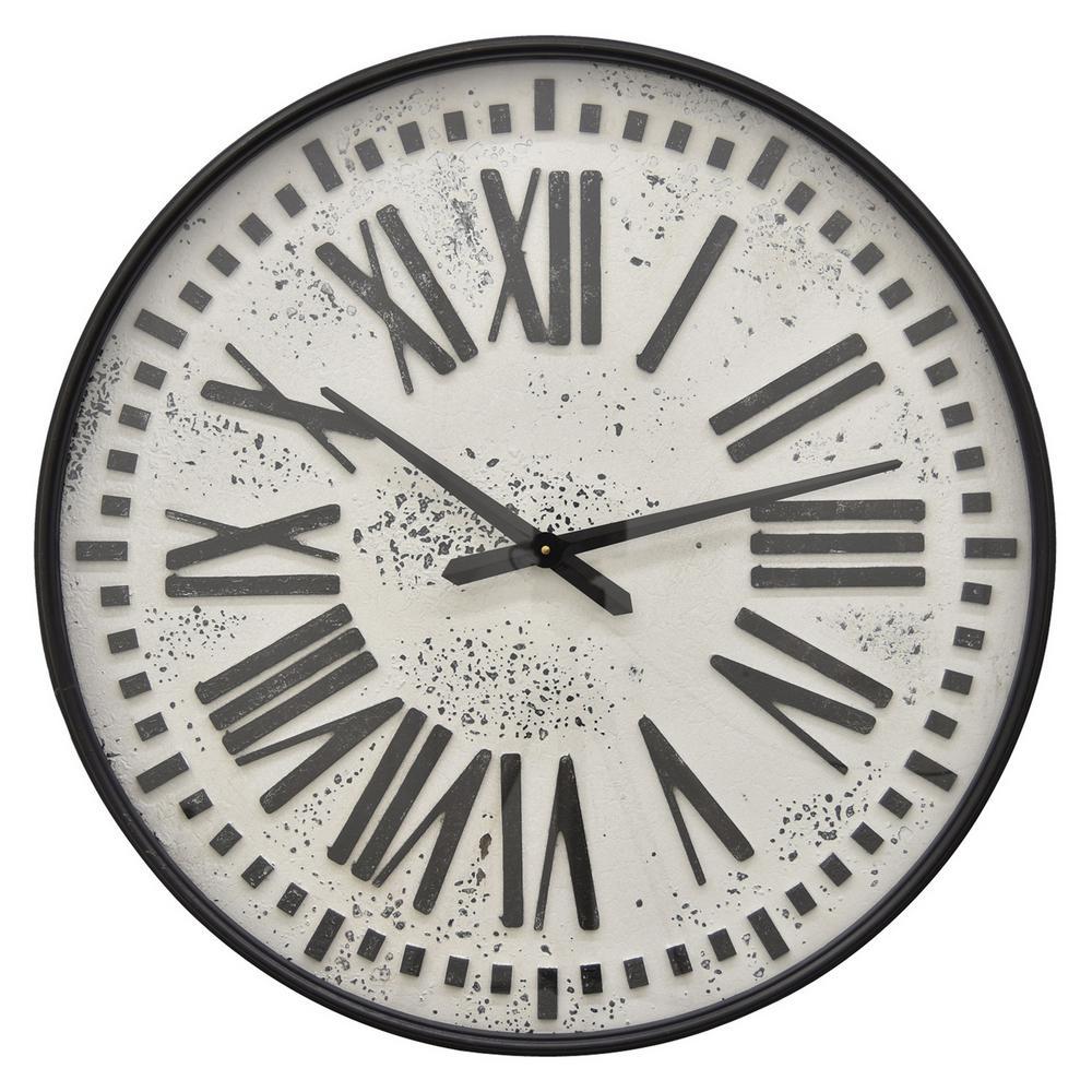 28 in. Black Metal Wall Clock