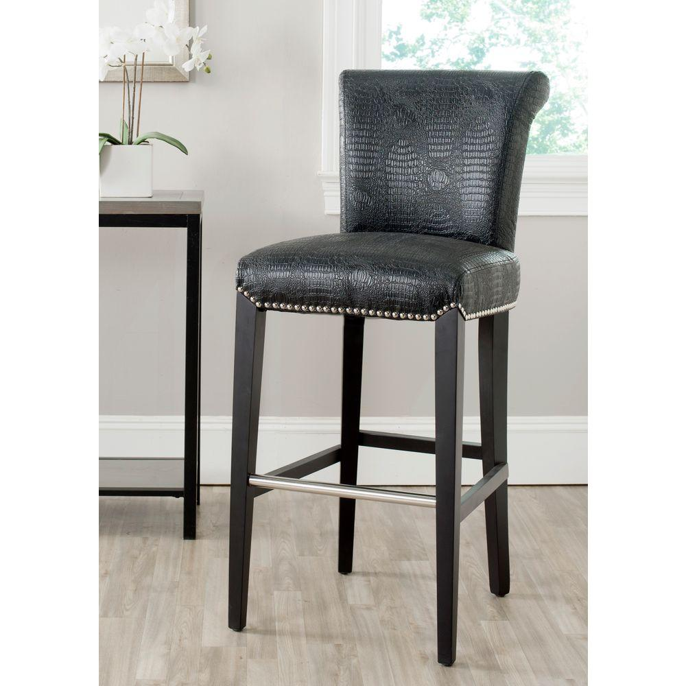 Safavieh Seth 29.3 In. Black Croc Cushioned Bar Stool