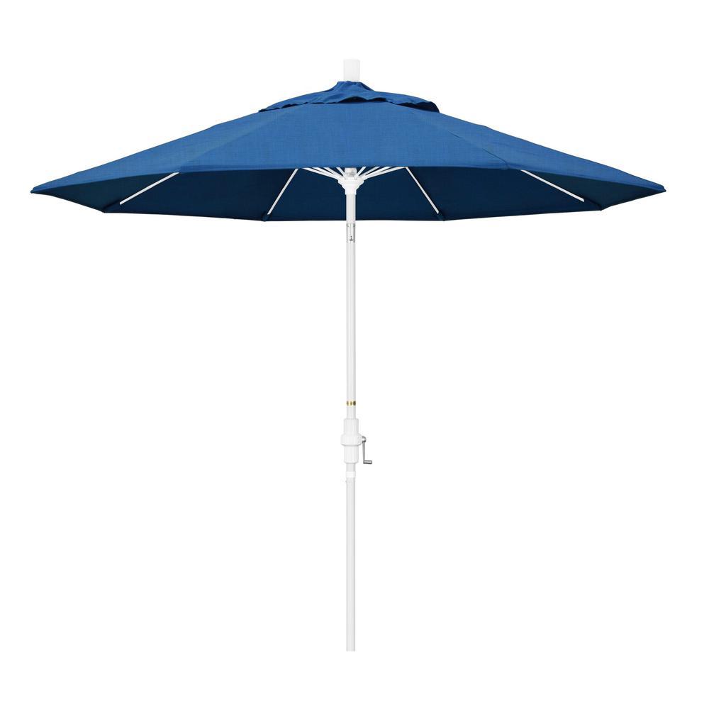 California Umbrella 9 Ft Matted White Aluminum Collar Tilt Crank Lift Market Patio Umbrella In Regatta Sunbrella Gscuf908170 5493 The Home Depot