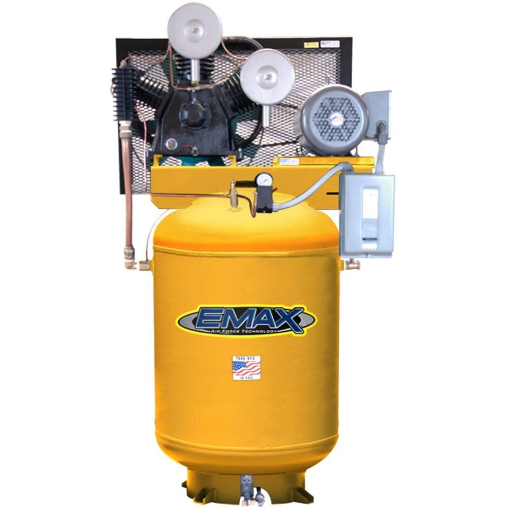 EMAX 120-Gal. 10 HP Quiet 640 RPM Piston 2-Stage 1-Phase Electric Industrial Grade Vertical Air Compressor-DISCONTINUED