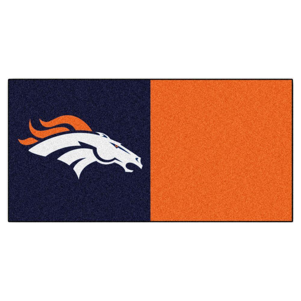 TrafficMASTER NFL - Denver Broncos Navy Blue and Orange Nylon 18 in. x 18 in. Carpet Tile (20 Tiles/Case)
