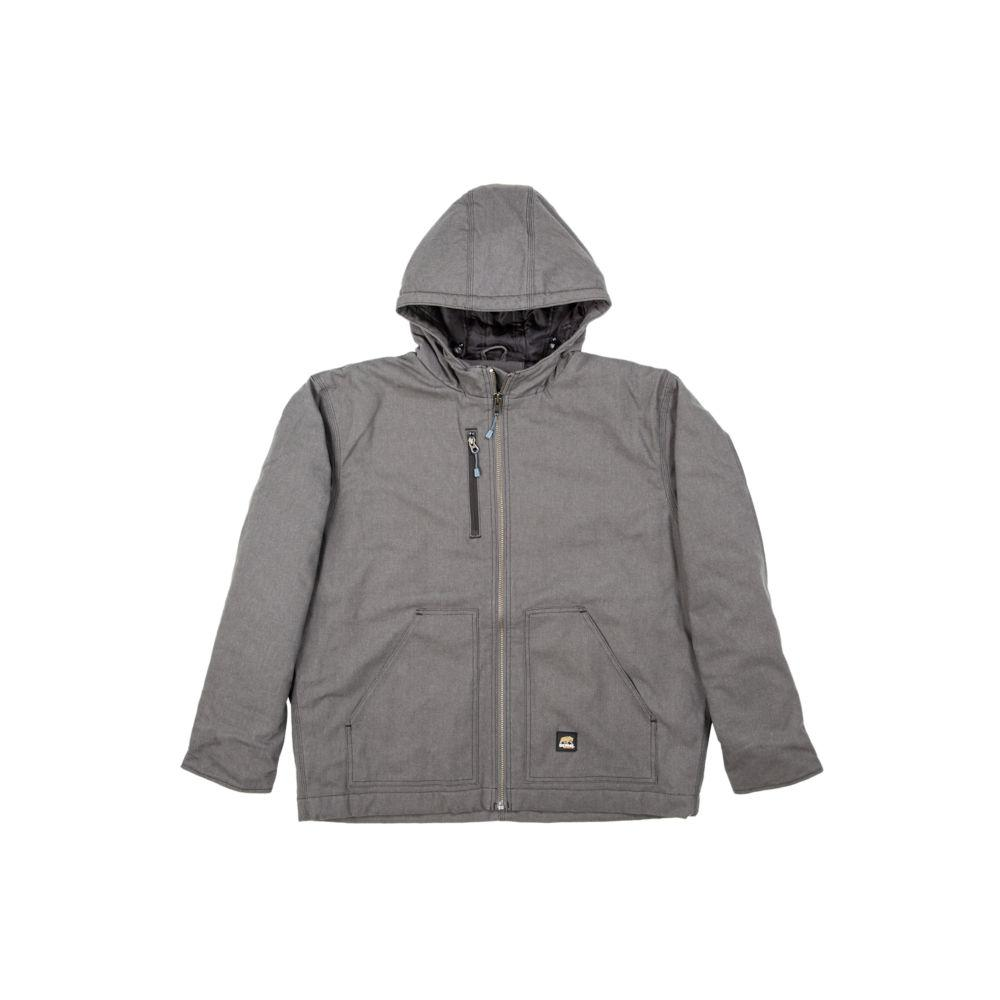 Berne Men's Extra Large Regular Titanium Cotton and Polyester Washed Hooded Work Coat