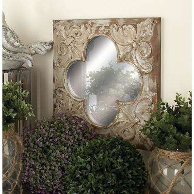 Scalloped-Edged Red, Beige and Green with Rust Wall Mirrors (Set of 3)