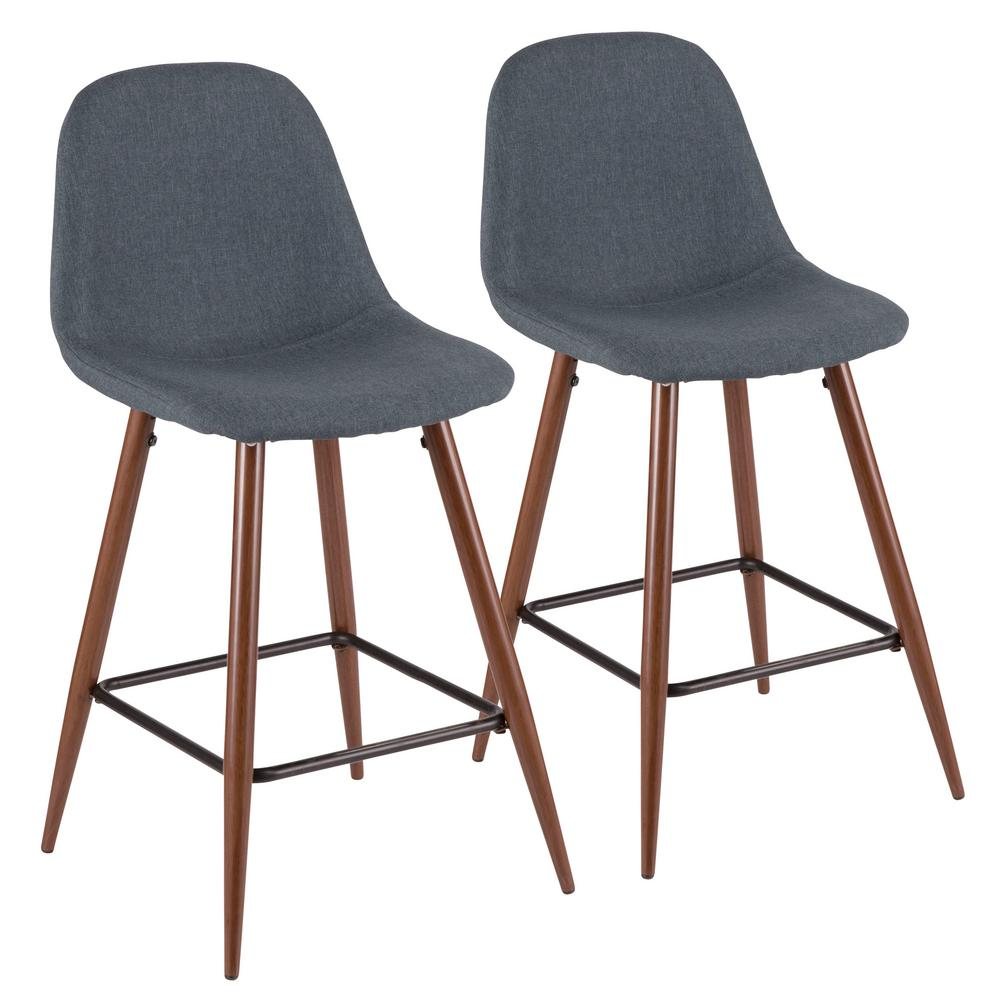 Lumisource Pebble 24 In Walnut And Blue Counter Stool