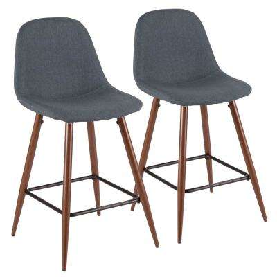 Pebble 24 in. Walnut and Blue Counter Stool (Set of 2)