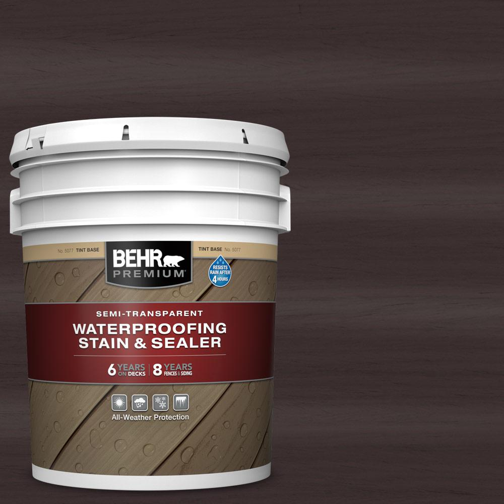 BEHR PREMIUM 5 gal. #ST-104 Cordovan Brown Semi-Transparent Waterproofing Exterior Wood Stain and Sealer